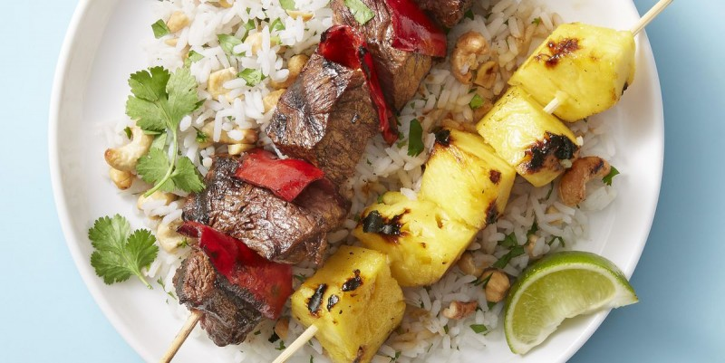 Beef and Pineapple Kebabs with Cashew Rice