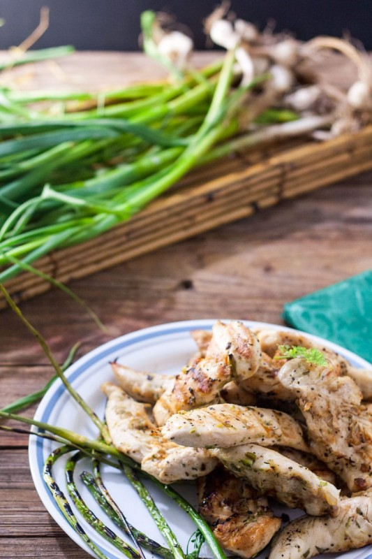 Garlic Scape, Lemon Grilled Chicken Tenders