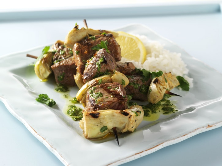 Grilled Lamb and Artichoke Kebabs