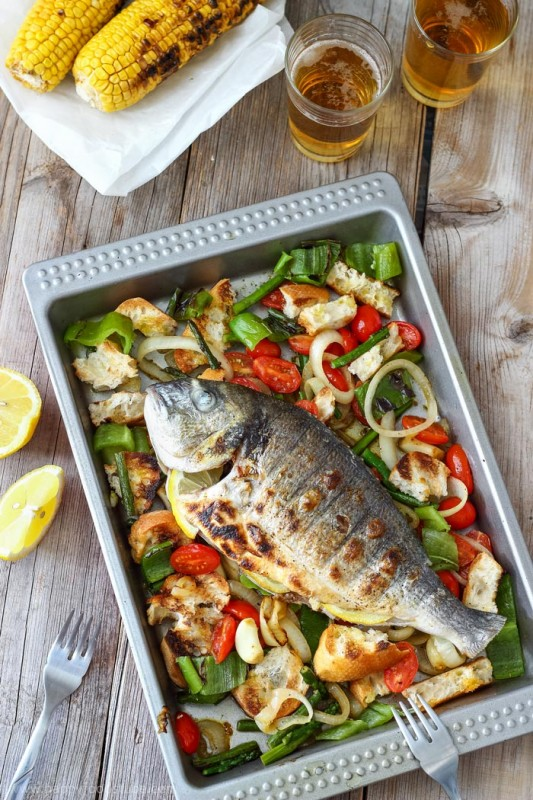 Grilled Whole Fish With Italian Bread Salad