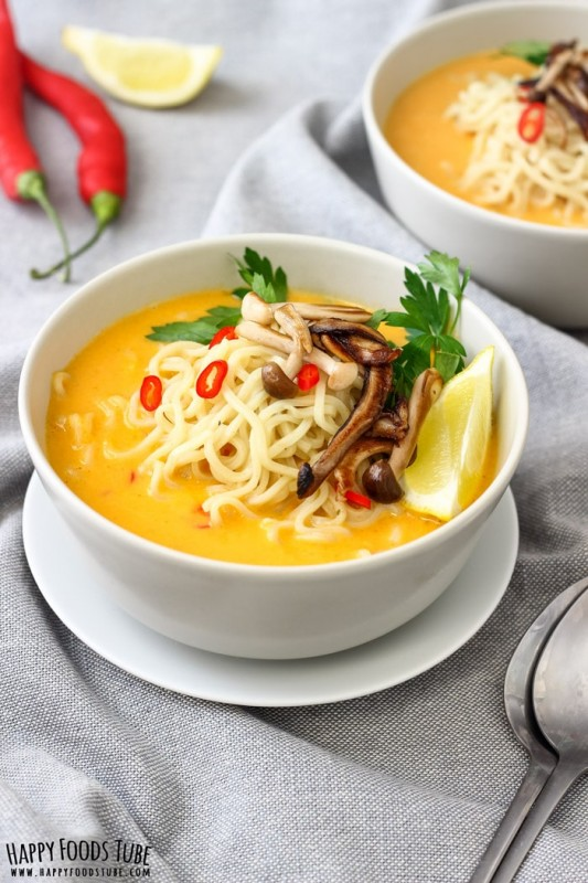 Spicy Thai Pumpkin Soup with Ramen Noodles